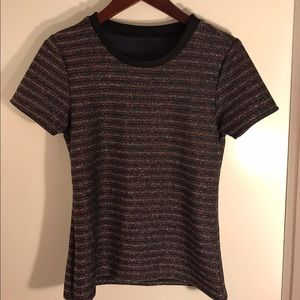 Tops - Metallic Stripped Crew Neck T Shirt